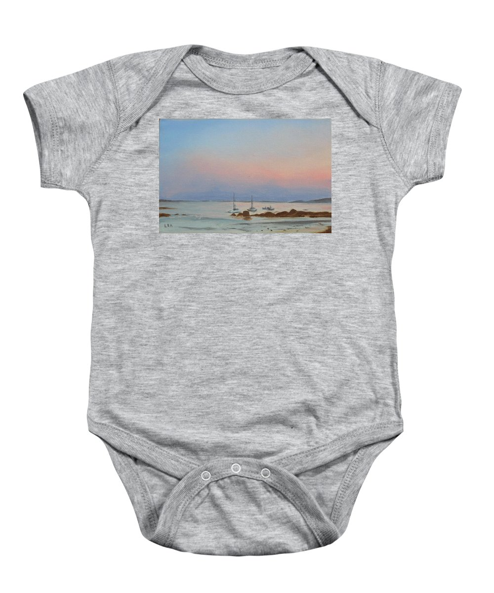 Seascape Baby Onesie featuring the painting Good Harbor by Lea Novak
