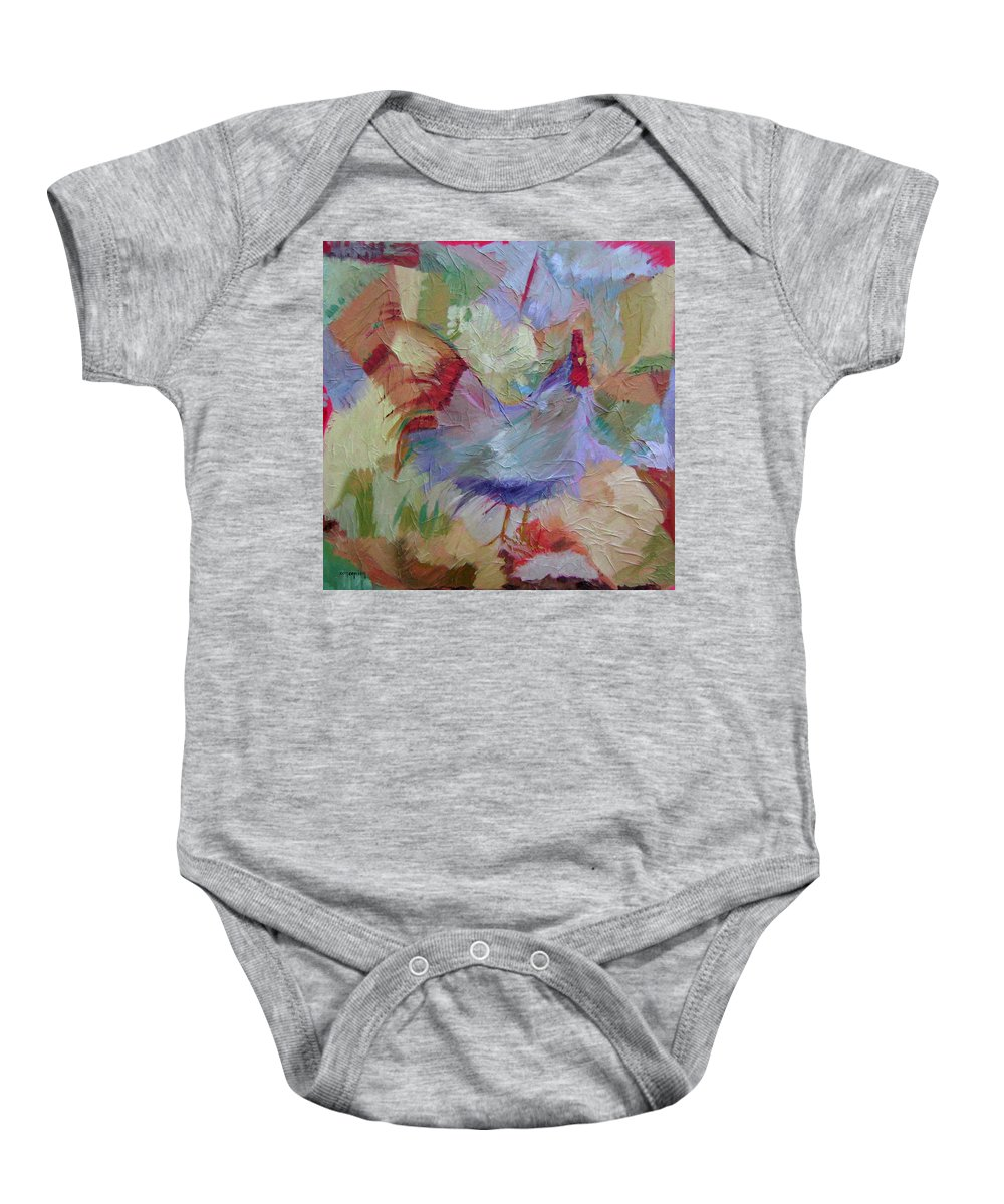 Chicken Paintings Baby Onesie featuring the painting Good Morning by Ginger Concepcion