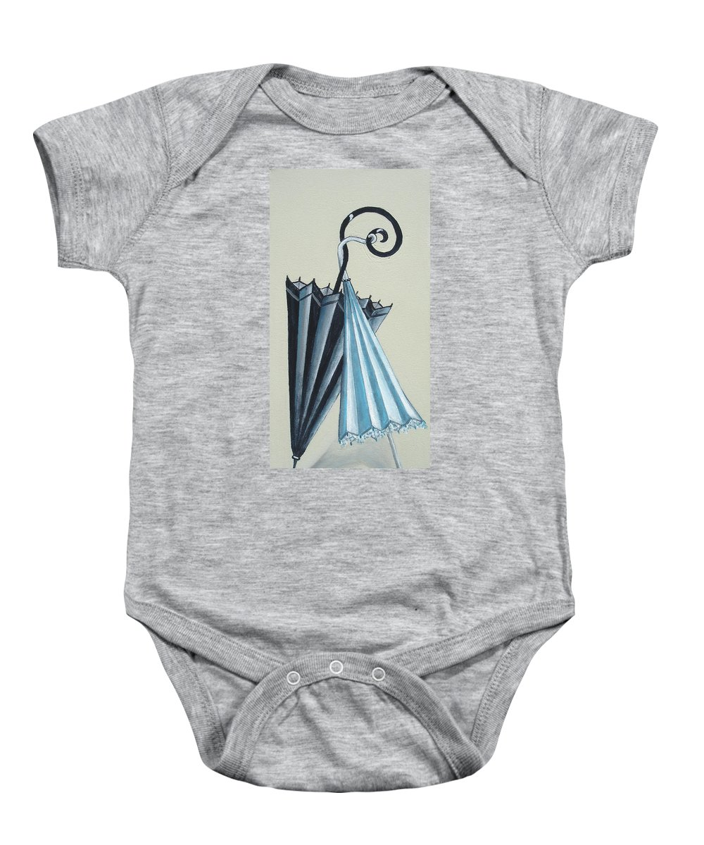 Umbrellas Baby Onesie featuring the painting Goog Morning by Olga Alexeeva