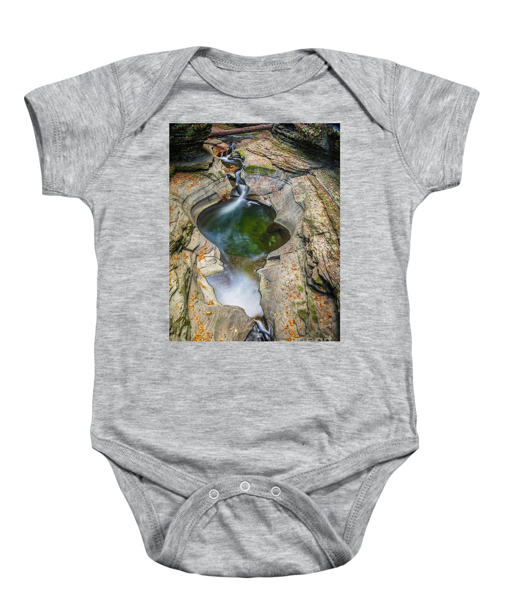 New York Baby Onesie featuring the photograph Gorge Trail In Autumn Watkins Glen by Karen Jorstad