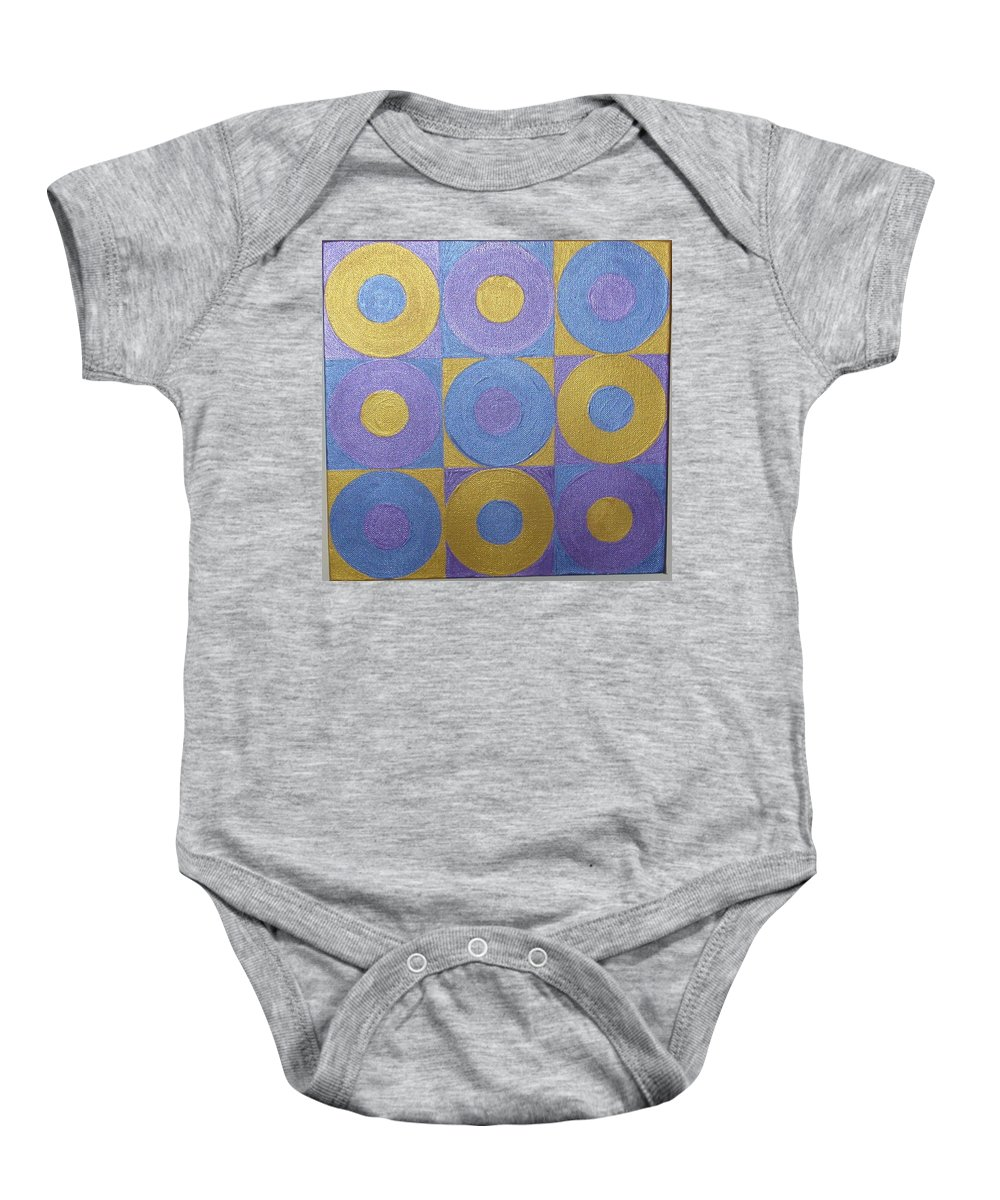Bkue Baby Onesie featuring the painting Got The Brass Blues by Gay Dallek