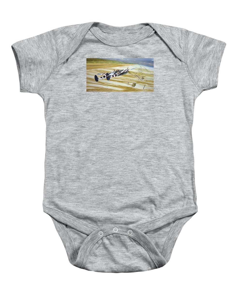 Wwii Baby Onesie featuring the painting Gotcha' by Marc Stewart