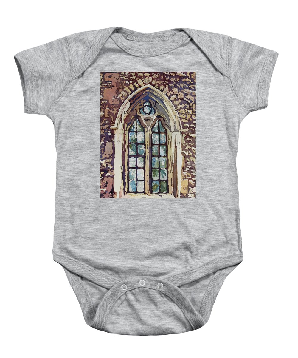 Gothic Baby Onesie featuring the painting Gothic Window by Jenny Armitage