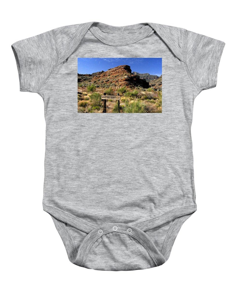 Grafton Utah Baby Onesie featuring the painting Grafton Cemetery by David Lee Thompson
