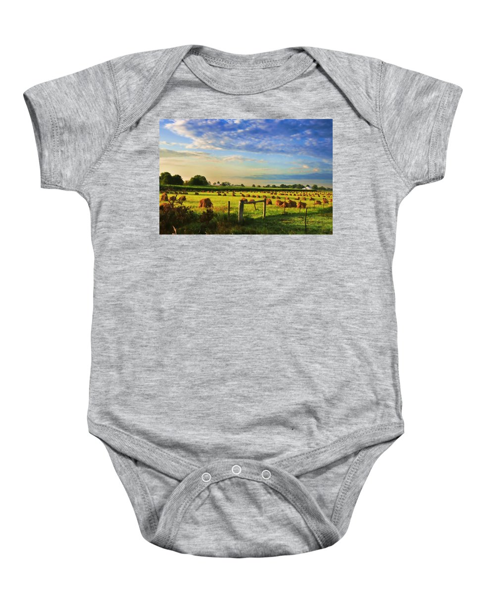 Amish Baby Onesie featuring the photograph Grain In The Field by David Arment