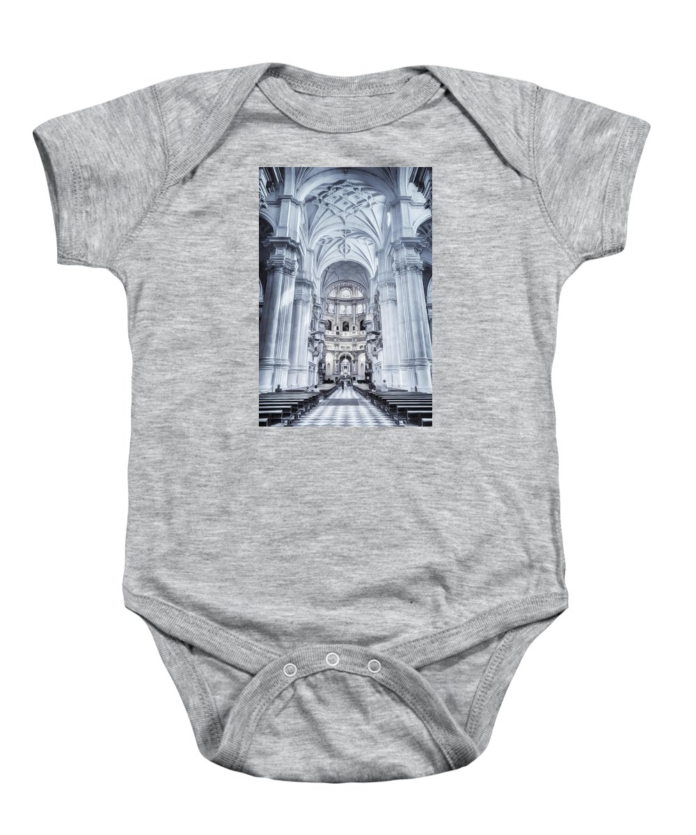 Joan Carroll Baby Onesie featuring the photograph Granada Cathedral Interior by Joan Carroll