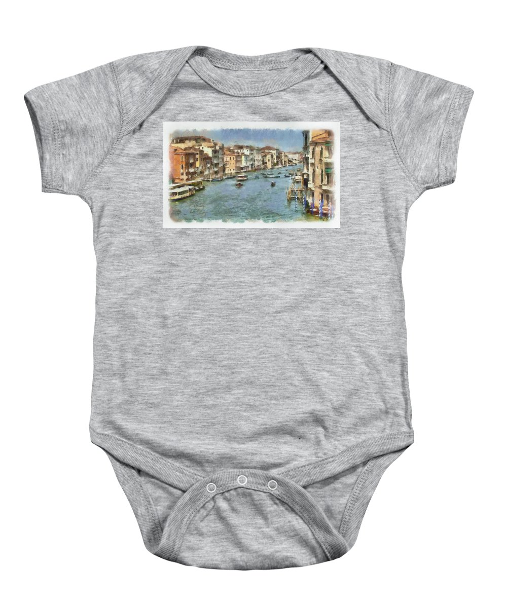 Grand Canal Baby Onesie featuring the painting Grand Canal In Venice by Sergey Lukashin