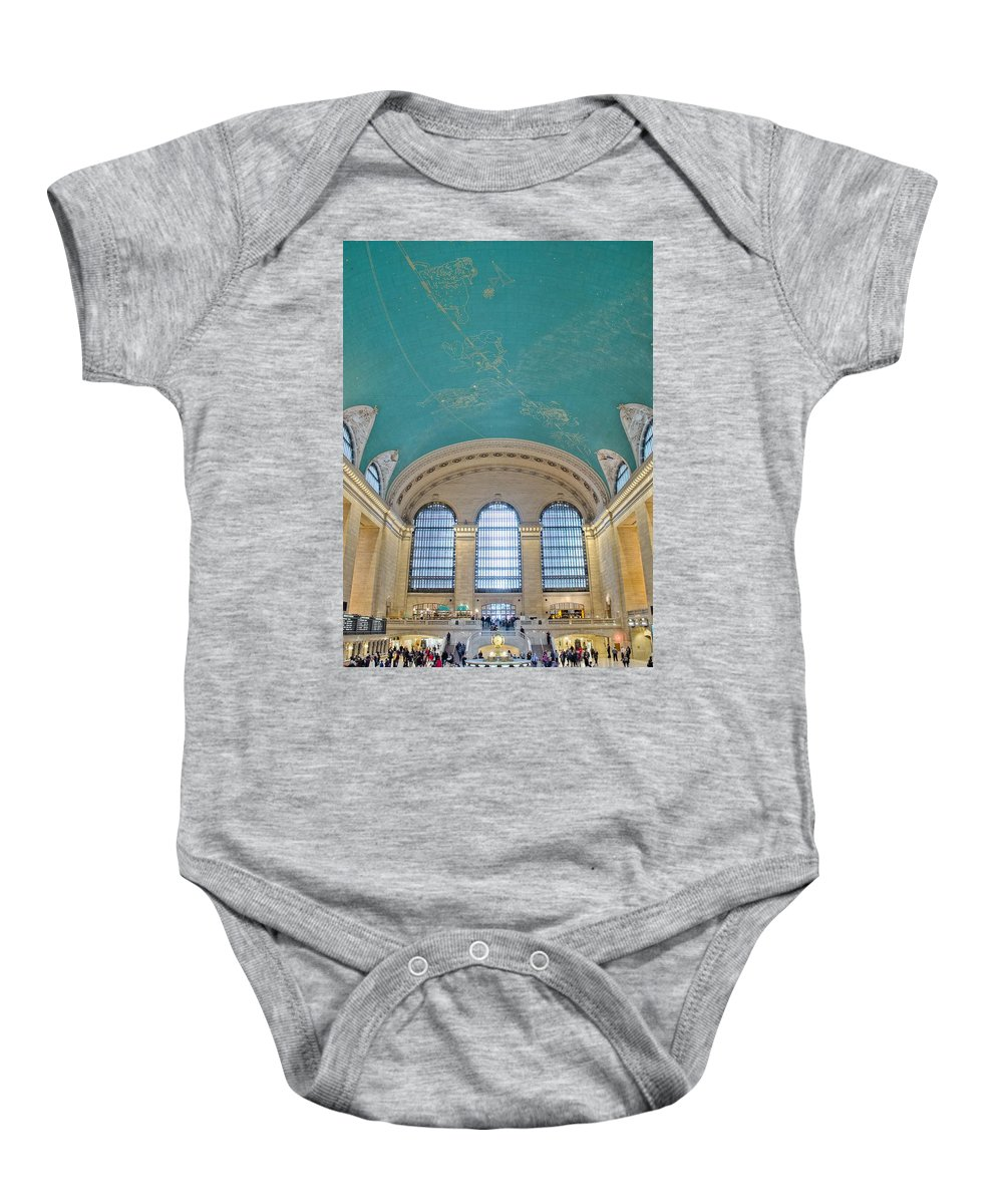 Architecture Baby Onesie featuring the photograph Grand Central Rush by Jonathan Collins