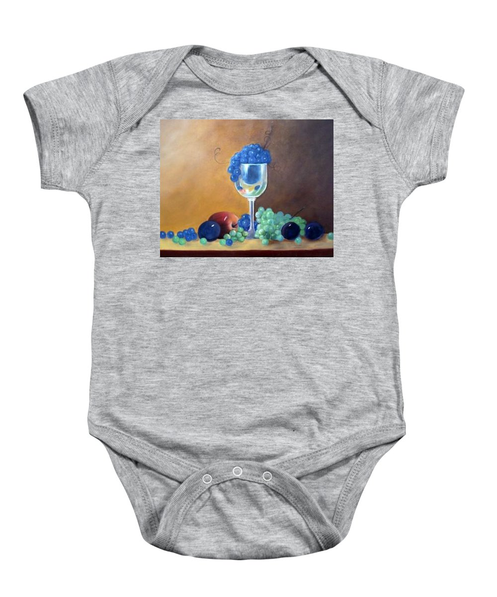 Wine Galsses With Grapes Baby Onesie featuring the painting Grapes And Plums by Susan Dehlinger