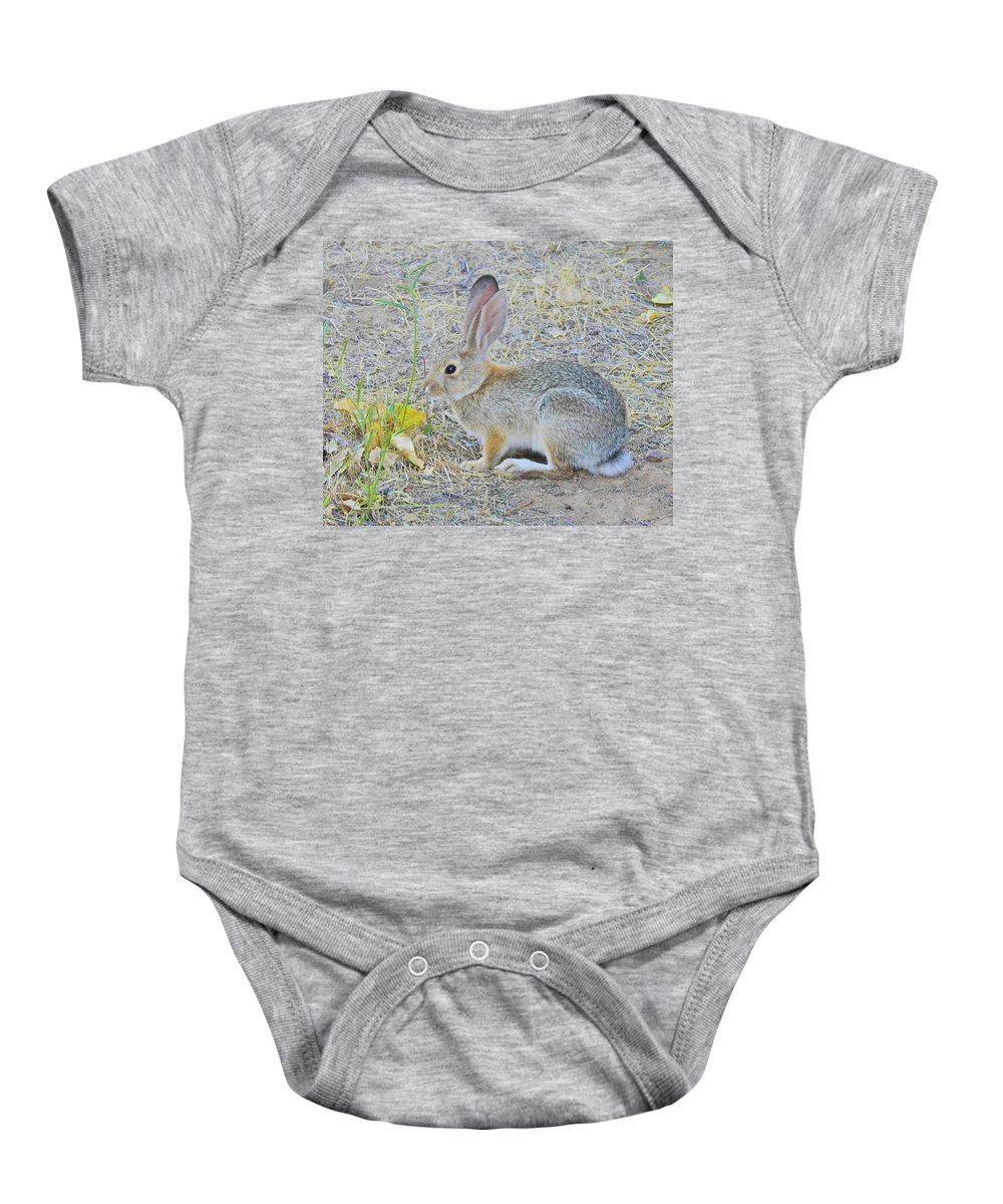 Jack Rabbits Baby Onesie featuring the photograph Grassland Youngster by Sandra O'Toole