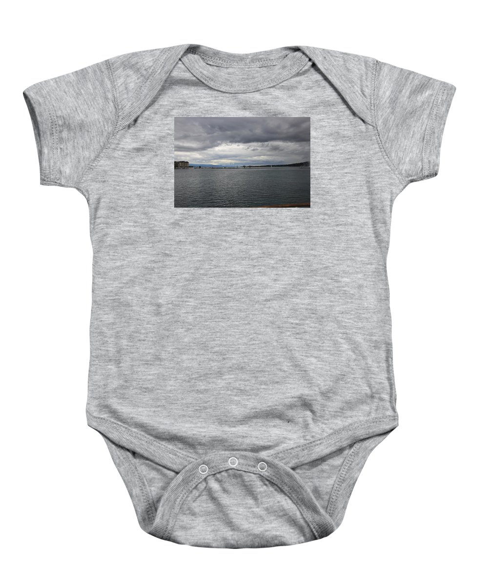 Geneva Baby Onesie featuring the photograph Gray And Gray by Nurlan Alymbaev