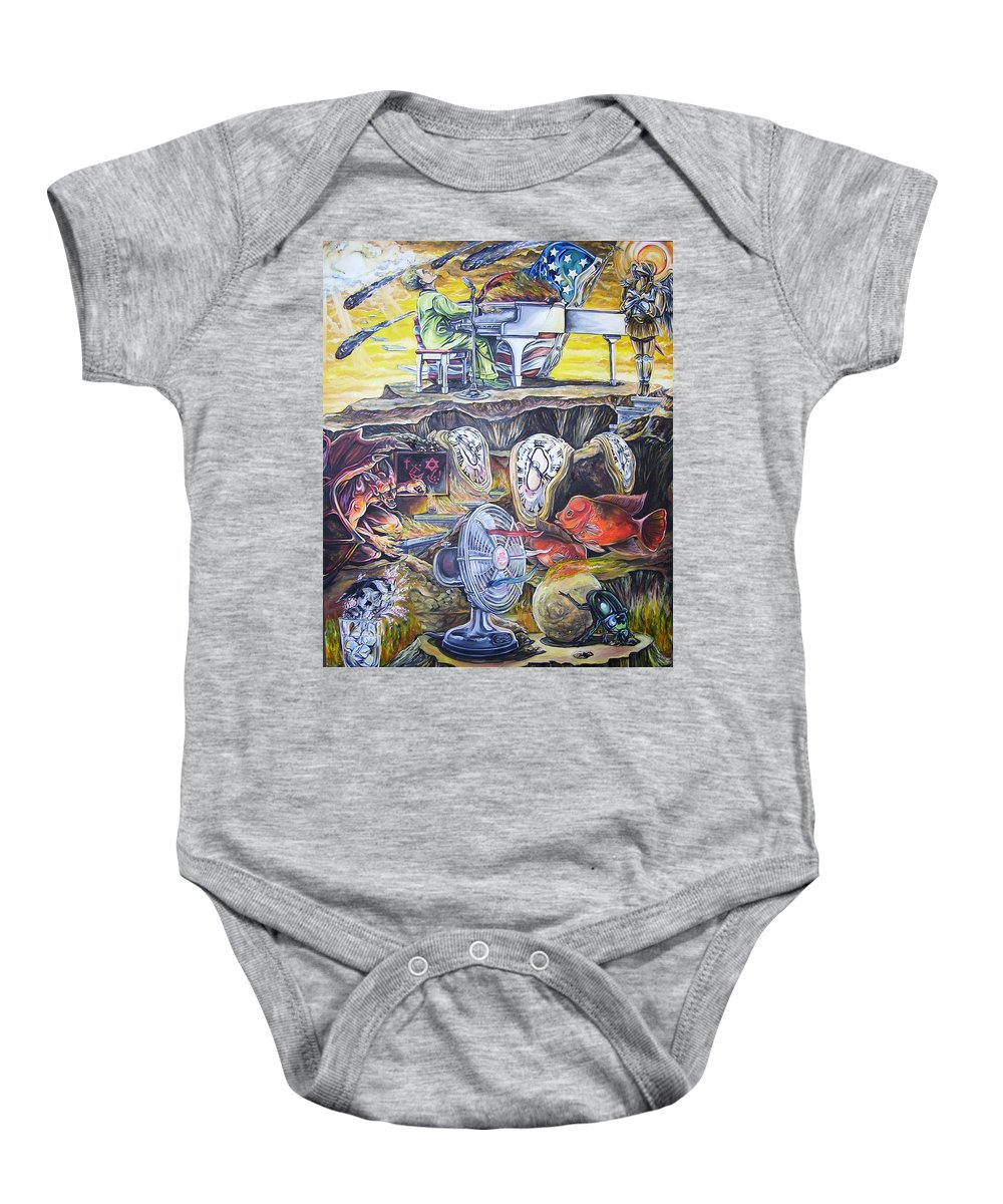 Piano Baby Onesie featuring the painting Great Balls Of Fire by James Henry