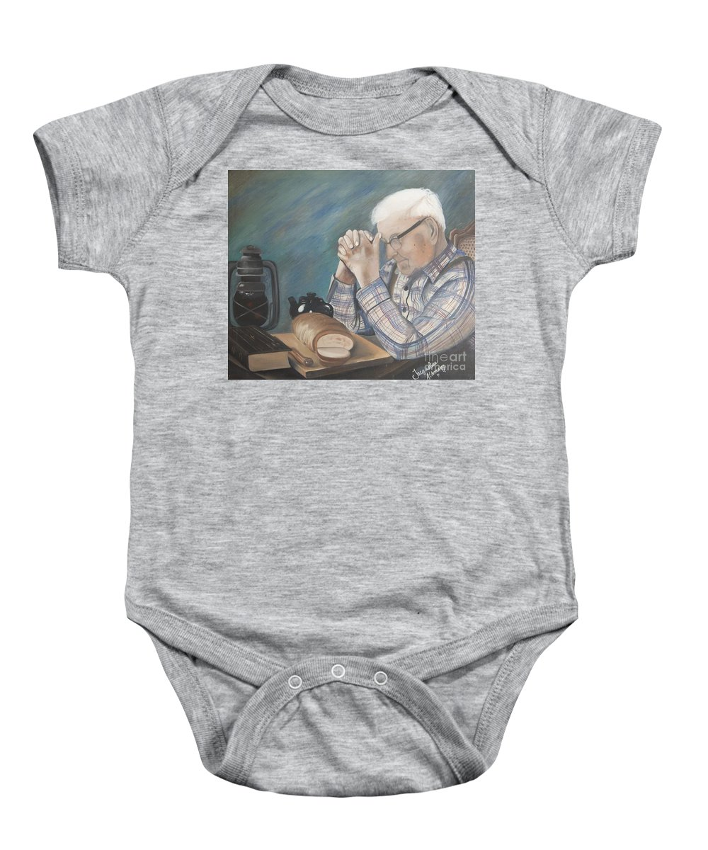 Great Grandpa Baby Onesie featuring the painting Great Grandpa by Jacqueline Athmann