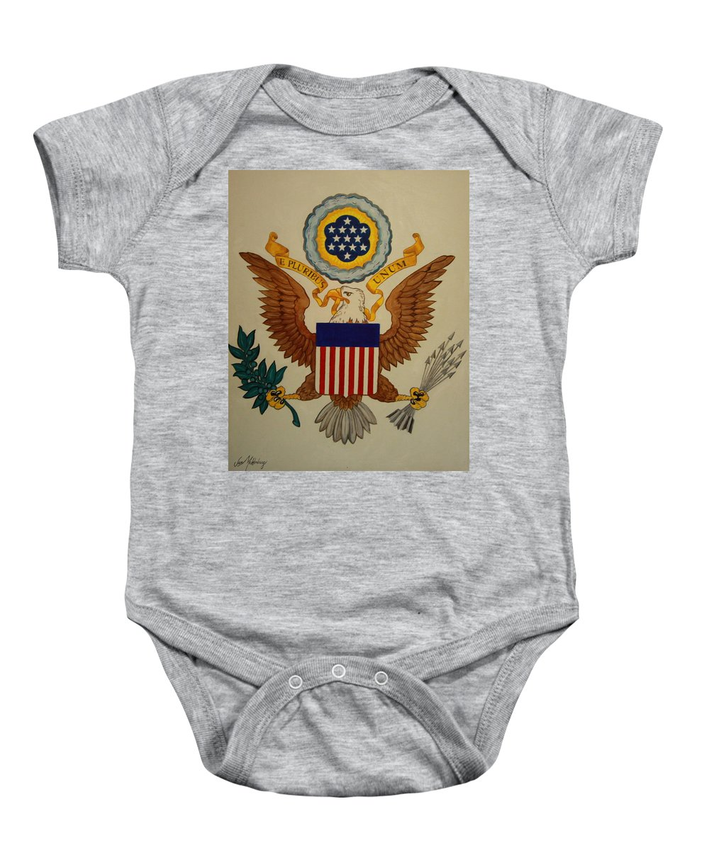Eagle Baby Onesie featuring the painting Great Seal Of The United States Of America by Jan Mecklenburg