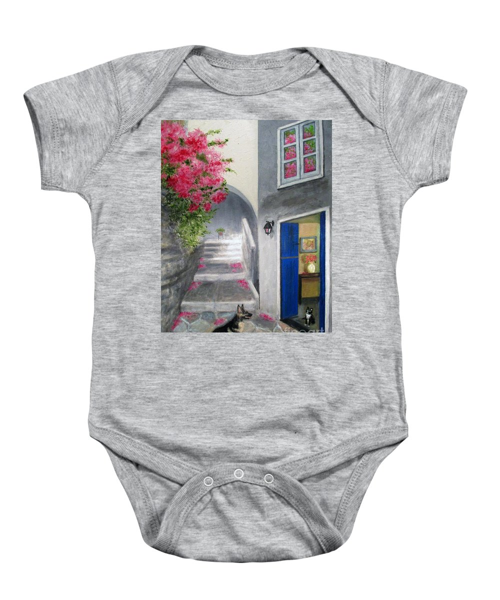 Pink Flowers Baby Onesie featuring the painting Greek Pink Flowers by Olga Silverman