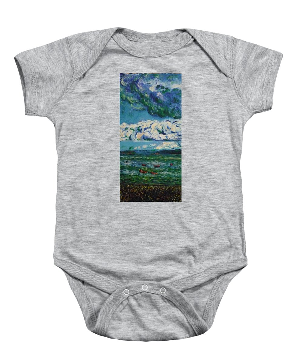 Landscape Baby Onesie featuring the painting Green Beach by Ericka Herazo