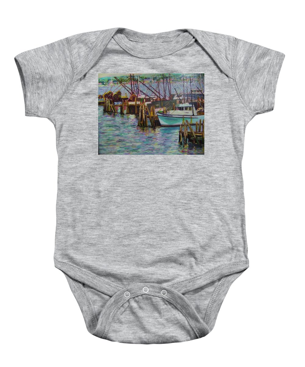 Boat Baby Onesie featuring the painting Green Boat At Rest- Nova Scotia by Richard Nowak