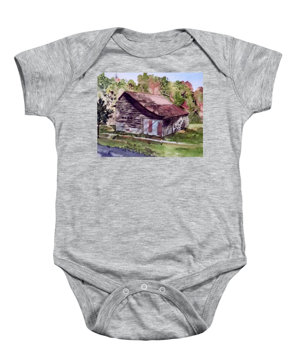 Barns Baby Onesie featuring the painting Green Creek Barn by Jean Blackmer