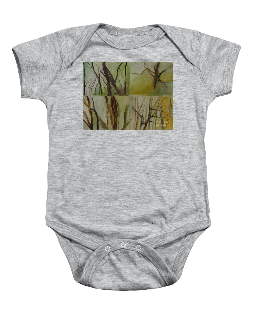 Spring Young Trees Saplings Trees Baby Onesie featuring the painting Green Sonnet by Leila Atkinson