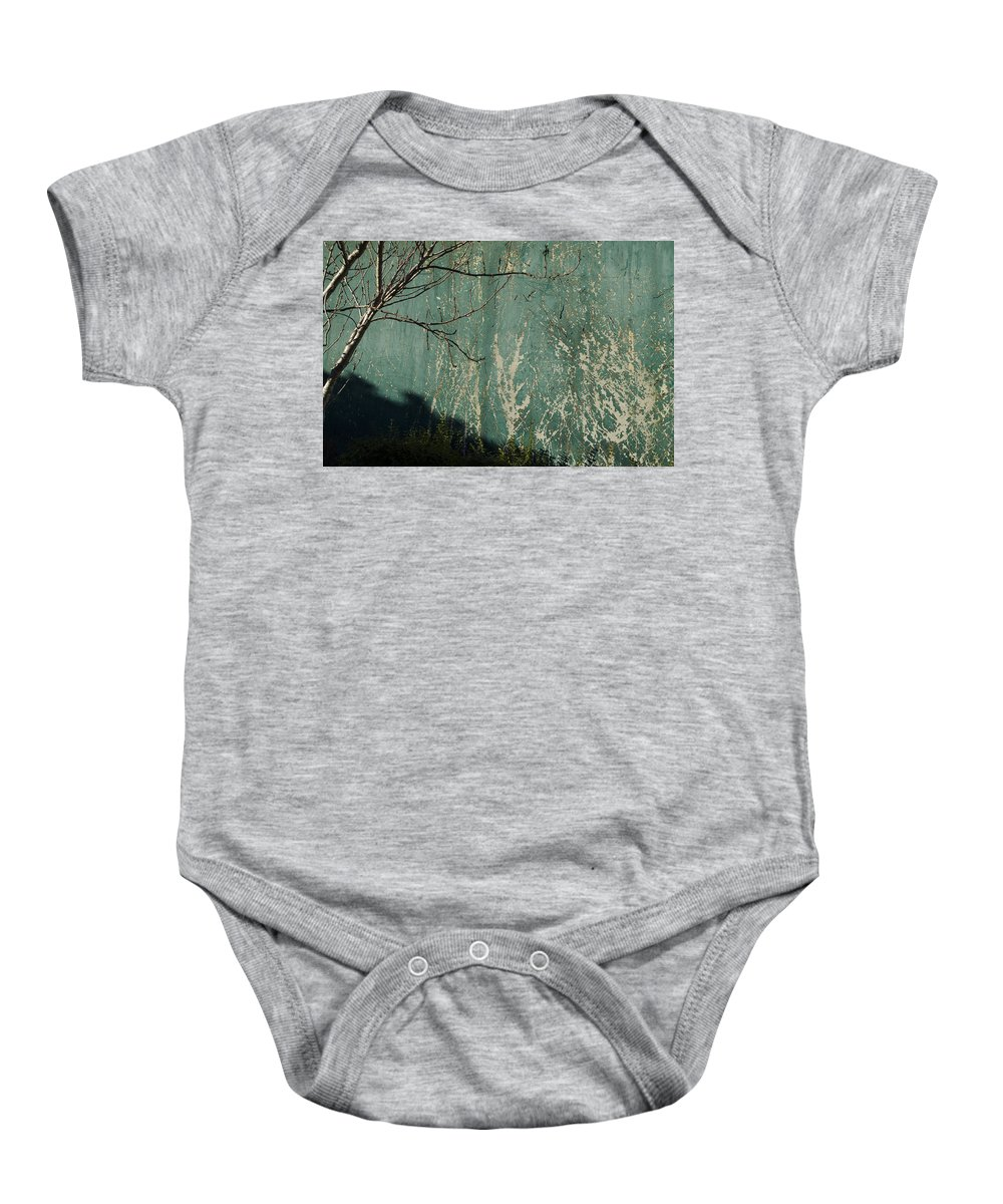 Green Baby Onesie featuring the photograph Green Wall Abstract by Erik Burg