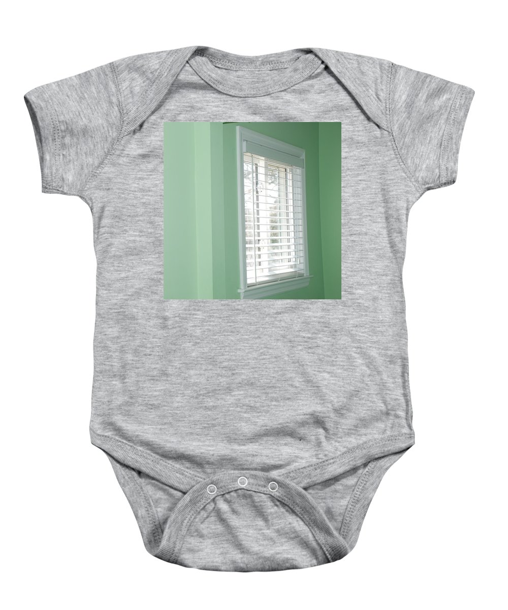Architecture Baby Onesie featuring the photograph Green Wall White Window by Rob Hans