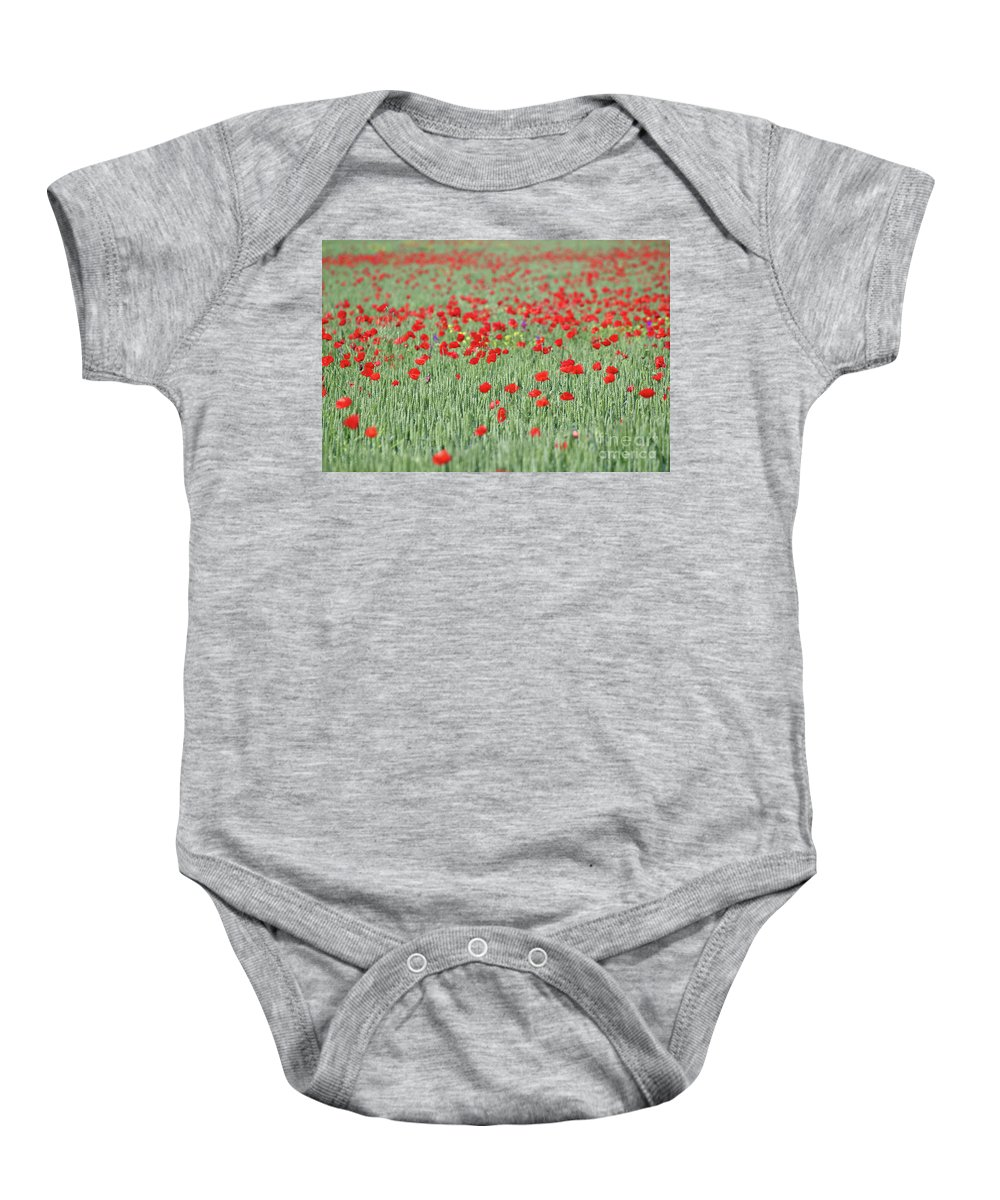 Wheat Baby Onesie featuring the photograph Green Wheat And Red Poppy Flowers Field by Goce Risteski