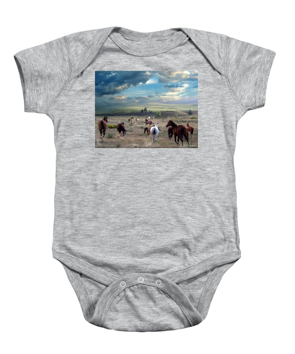 Horses Baby Onesie featuring the mixed media Greener Pastures by Barbara Stephens