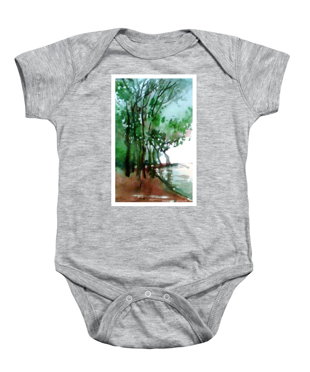 Water Color Baby Onesie featuring the painting Greens by Anil Nene