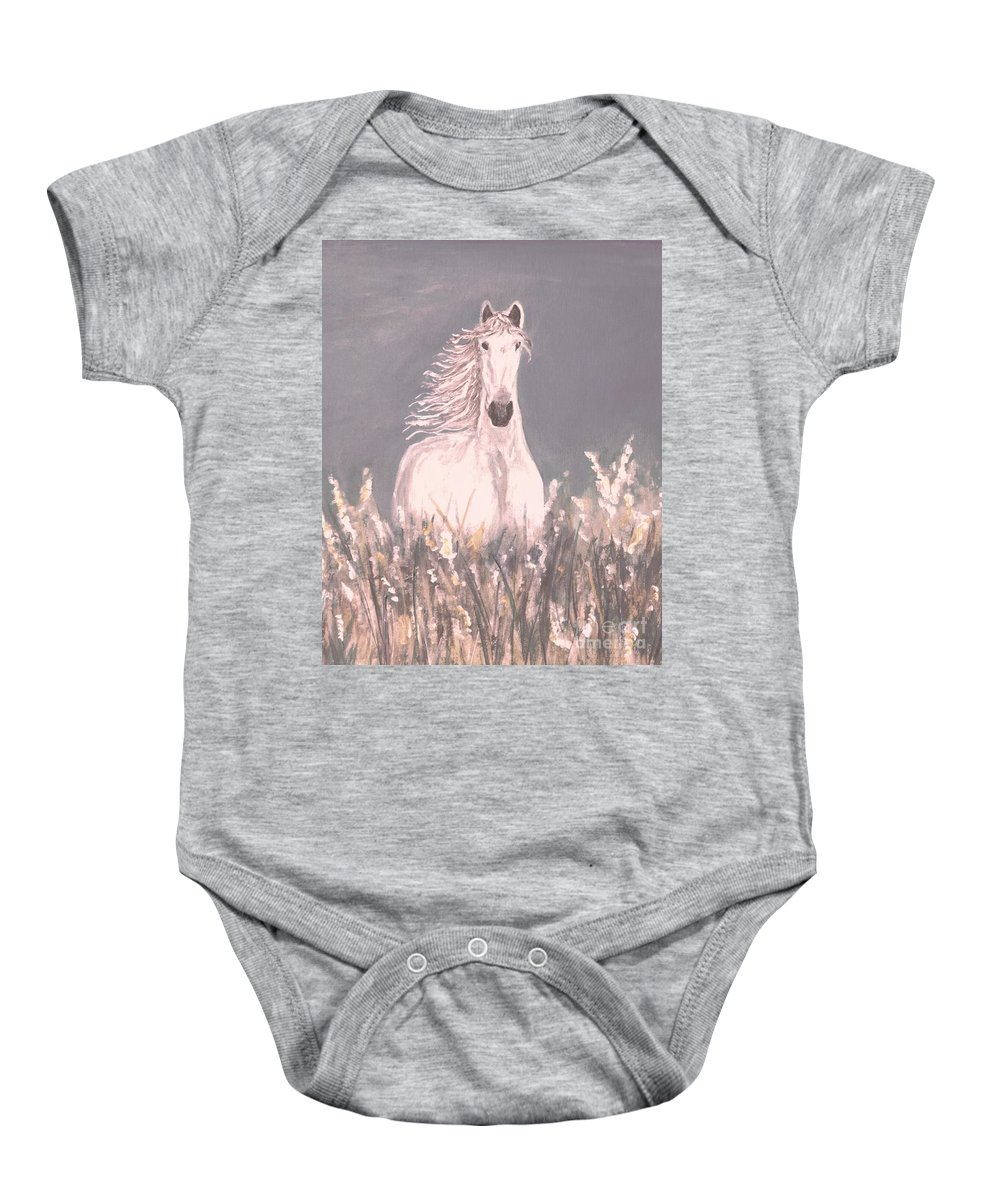 Horse Painting Baby Onesie featuring the painting Grey And White by Leslie Allen