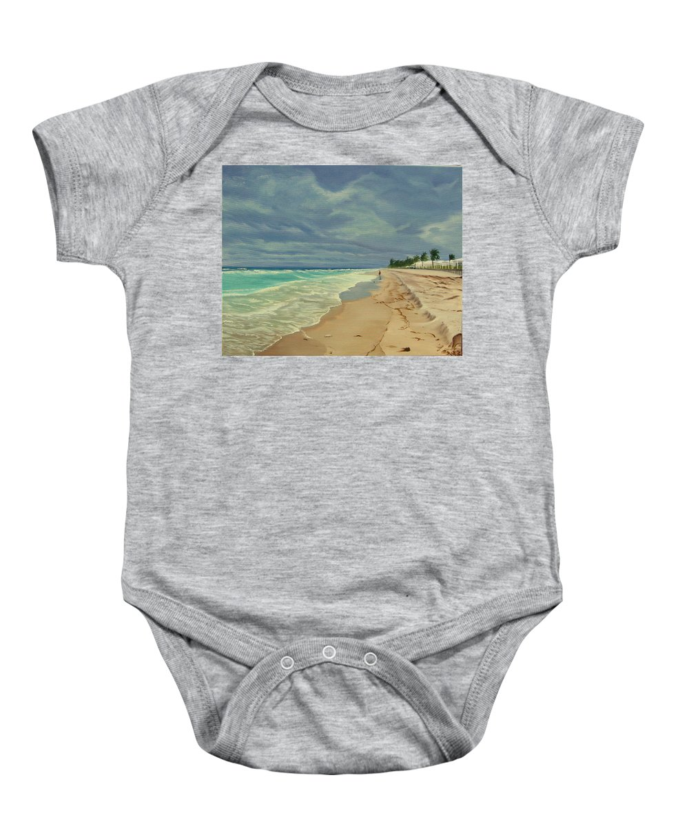 Beach Baby Onesie featuring the painting Grey Day On The Beach by Lea Novak