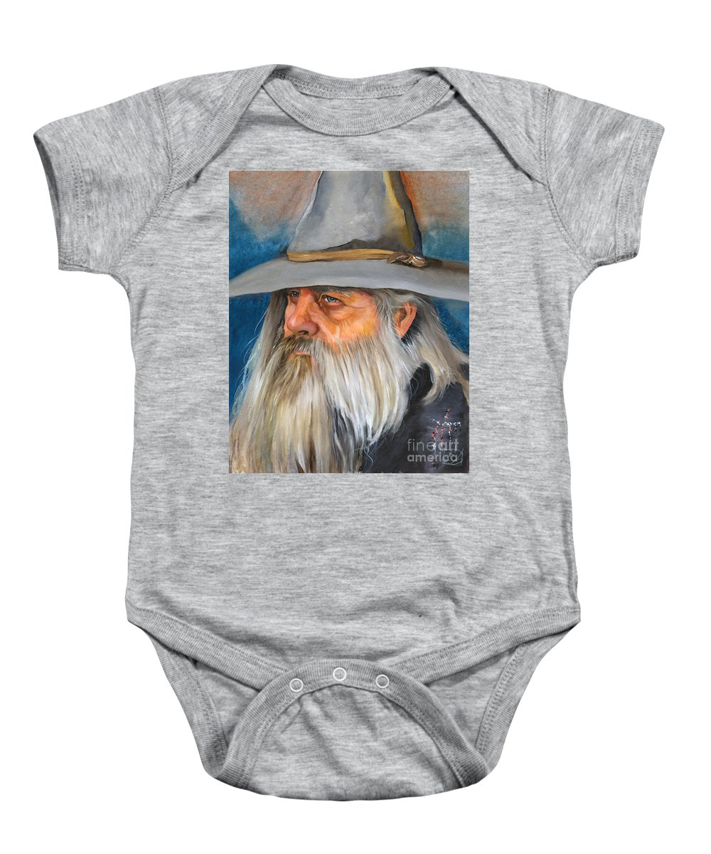 Wizard Baby Onesie featuring the painting Grey Days by J W Baker