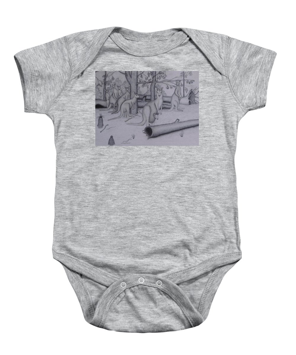 Graphite Baby Onesie featuring the drawing Grey Kangaroos by Brian Leverton