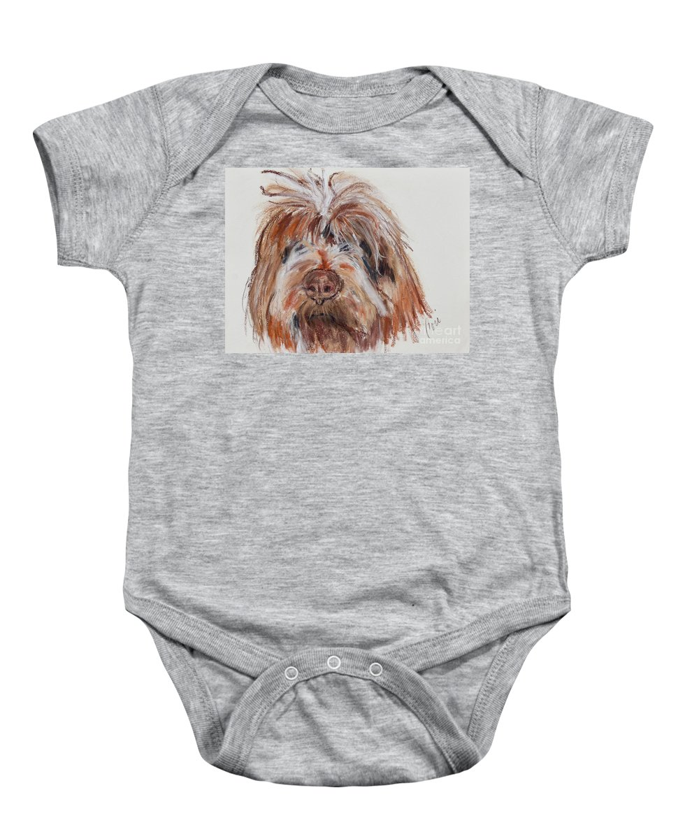 Wirehaired Pointing Griffon Baby Onesie featuring the pastel Griffin by Cori Solomon