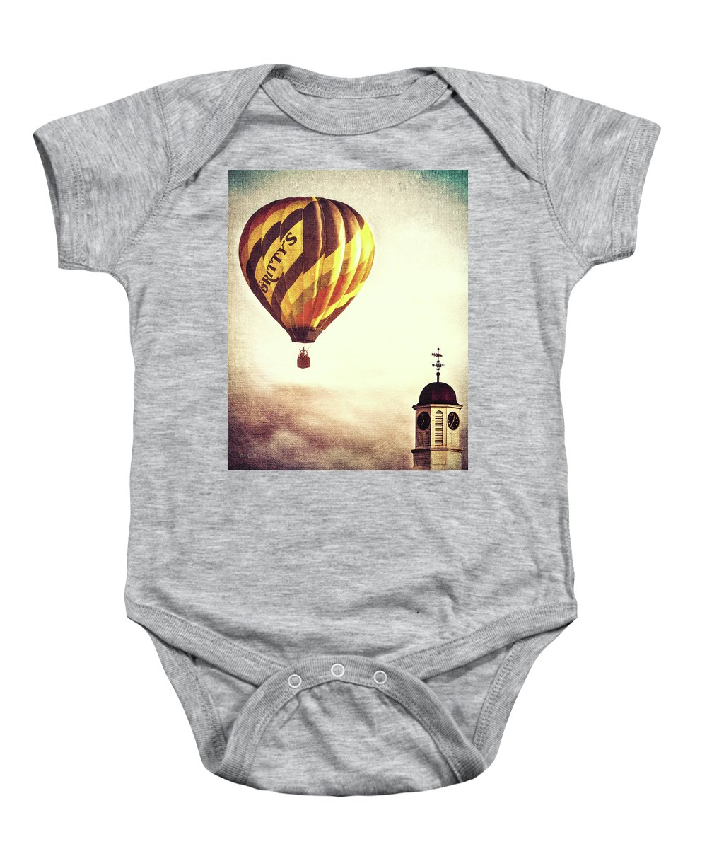 Gritties Baby Onesie featuring the photograph Gritty Mcduffs Hot Air Balloon by Bob Orsillo