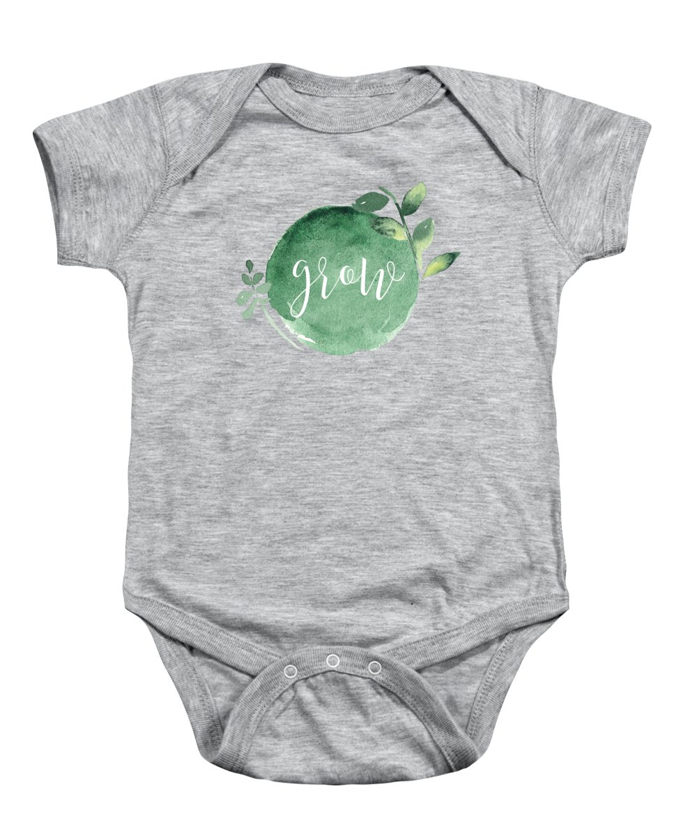 Grow Baby Onesie featuring the mixed media Grow by Nancy Ingersoll
