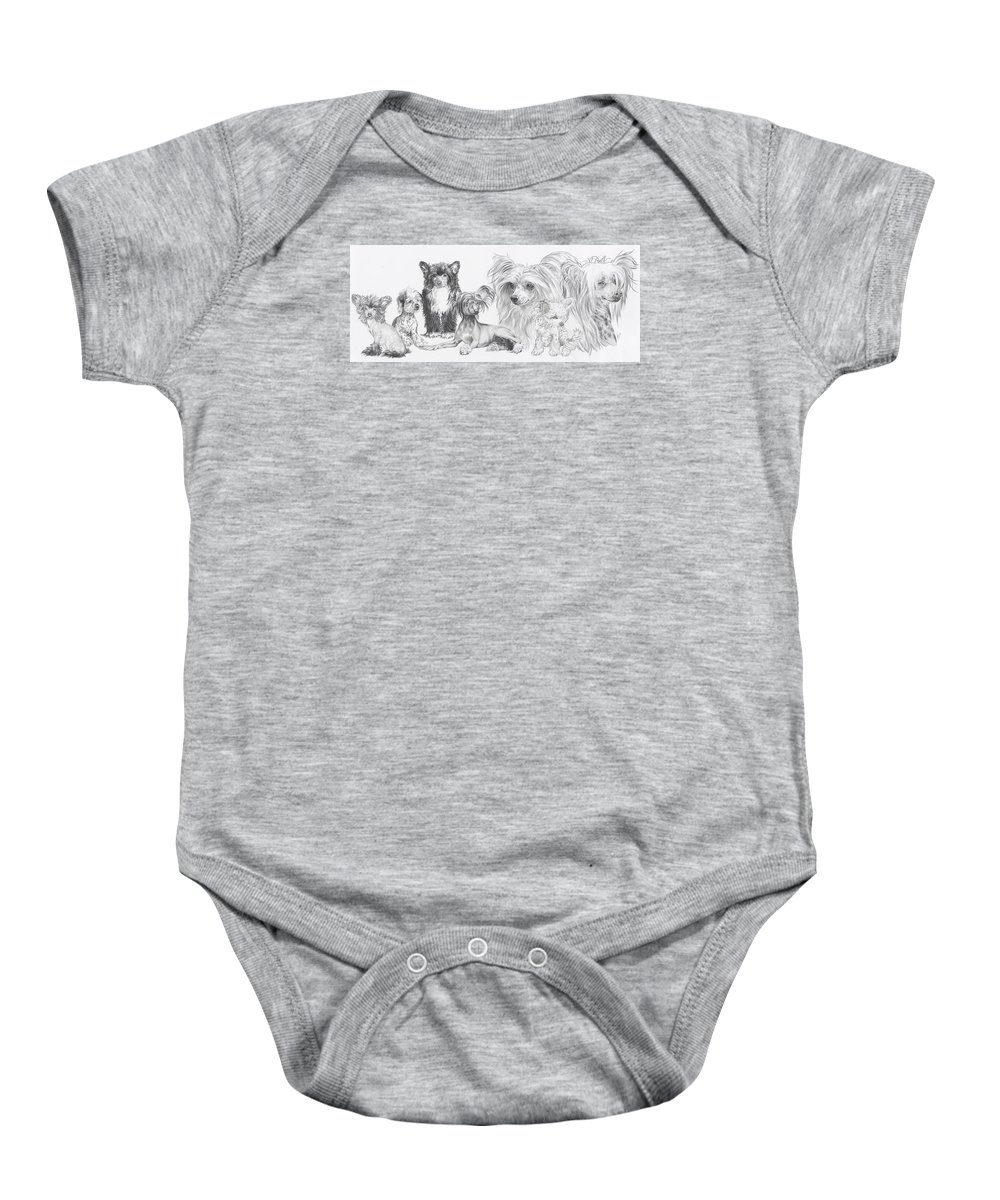Dog Baby Onesie featuring the drawing Growing Up Chinese Crested And Powderpuff by Barbara Keith