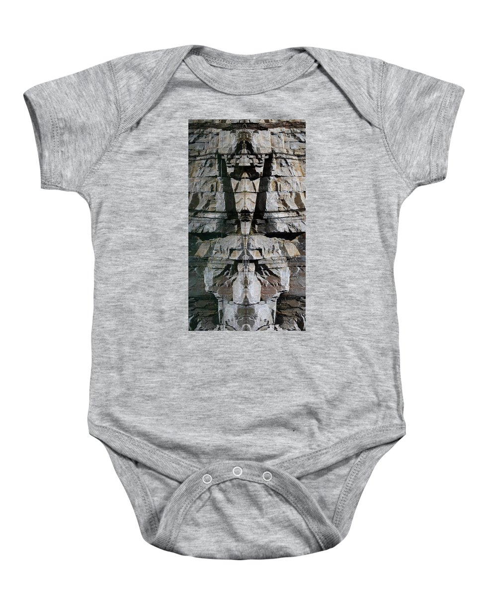 Rock Baby Onesie featuring the photograph Guardians Of The Lake by Cathie Douglas