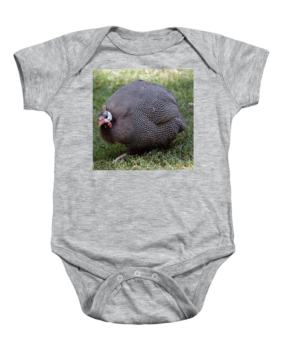 Fowl Baby Onesie featuring the digital art Guinnea Fowl On The Run by DigiArt Diaries by Vicky B Fuller