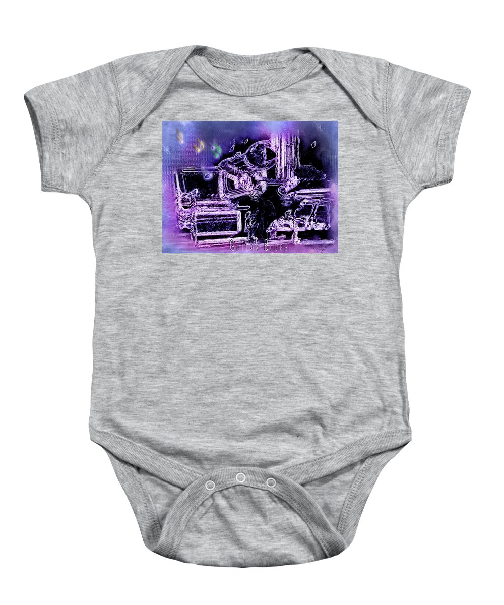 Abstract Art Baby Onesie featuring the photograph Guitar Blues by Susan Kinney