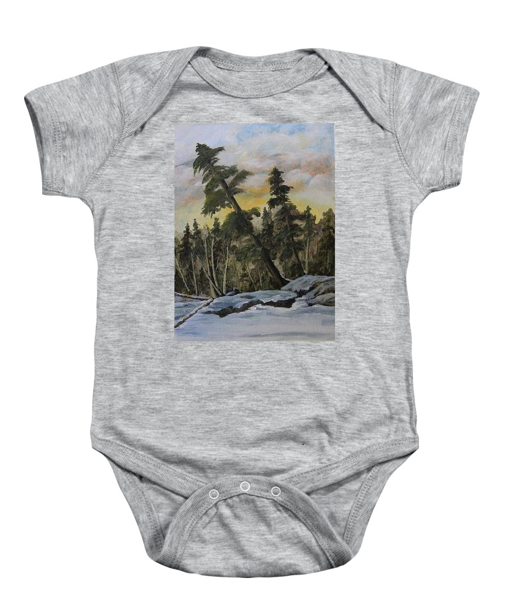 Landscape Baby Onesie featuring the painting Gunflint Winter by Joi Electa