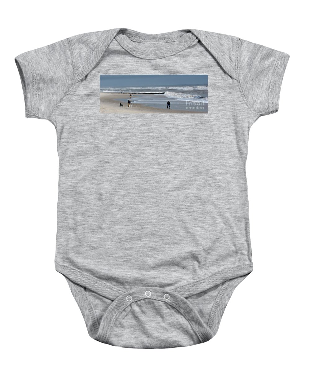 Men Baby Onesie featuring the photograph Guys Fishing by Lori Tambakis