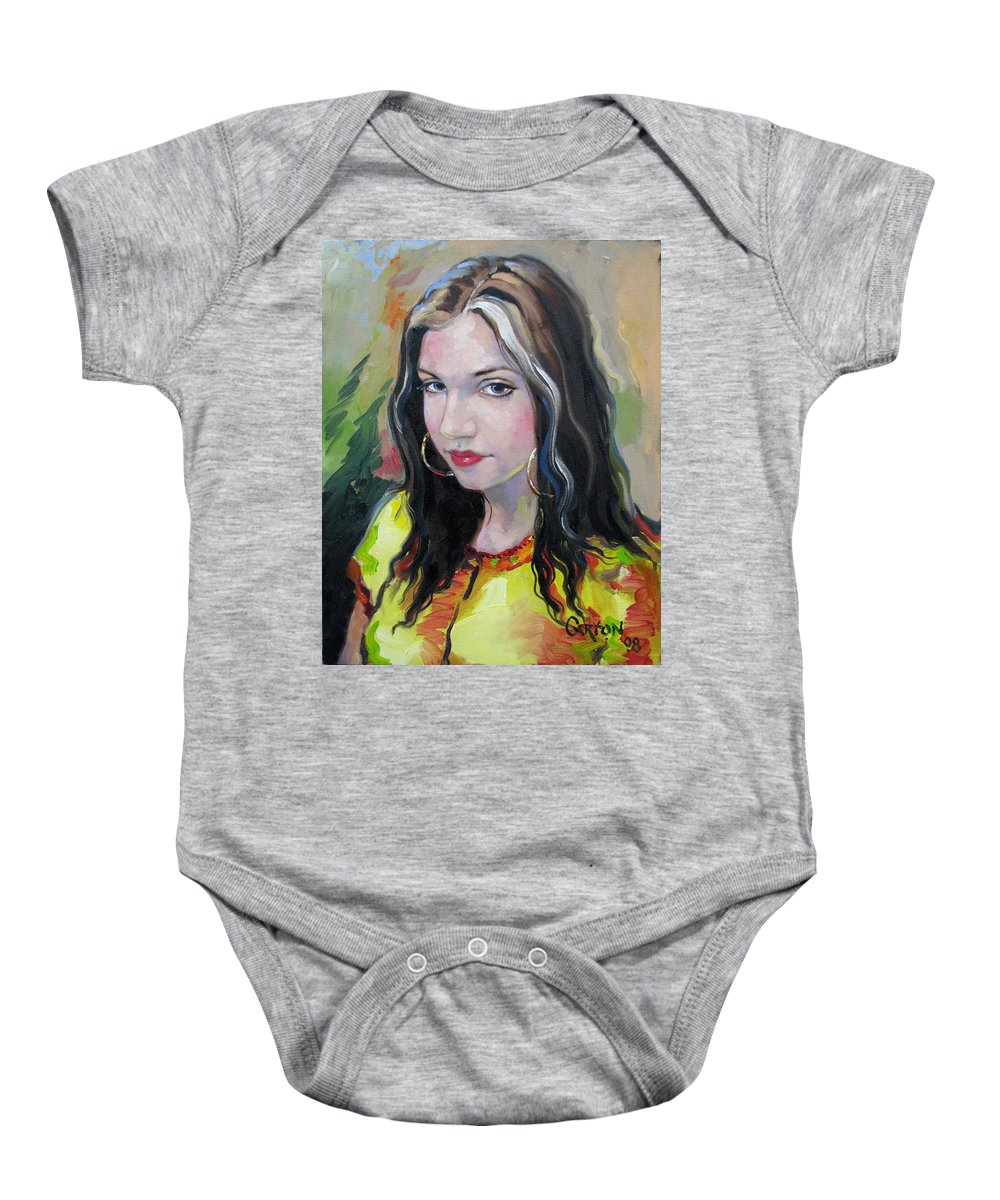 Gypsy Baby Onesie featuring the painting Gypsy Girl by Jerrold Carton