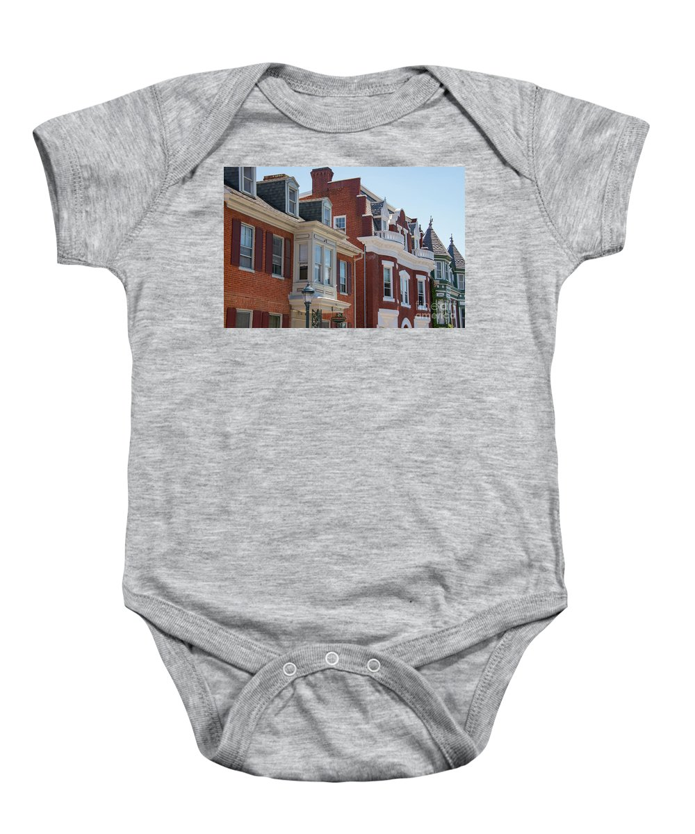 Hagerstown Maryland Apartment Building Buildings Apartments Structure Structures Window Windows Architecture City Cities Cityscape Cityscapes Baby Onesie featuring the photograph Hagerstown Cityscape by Bob Phillips