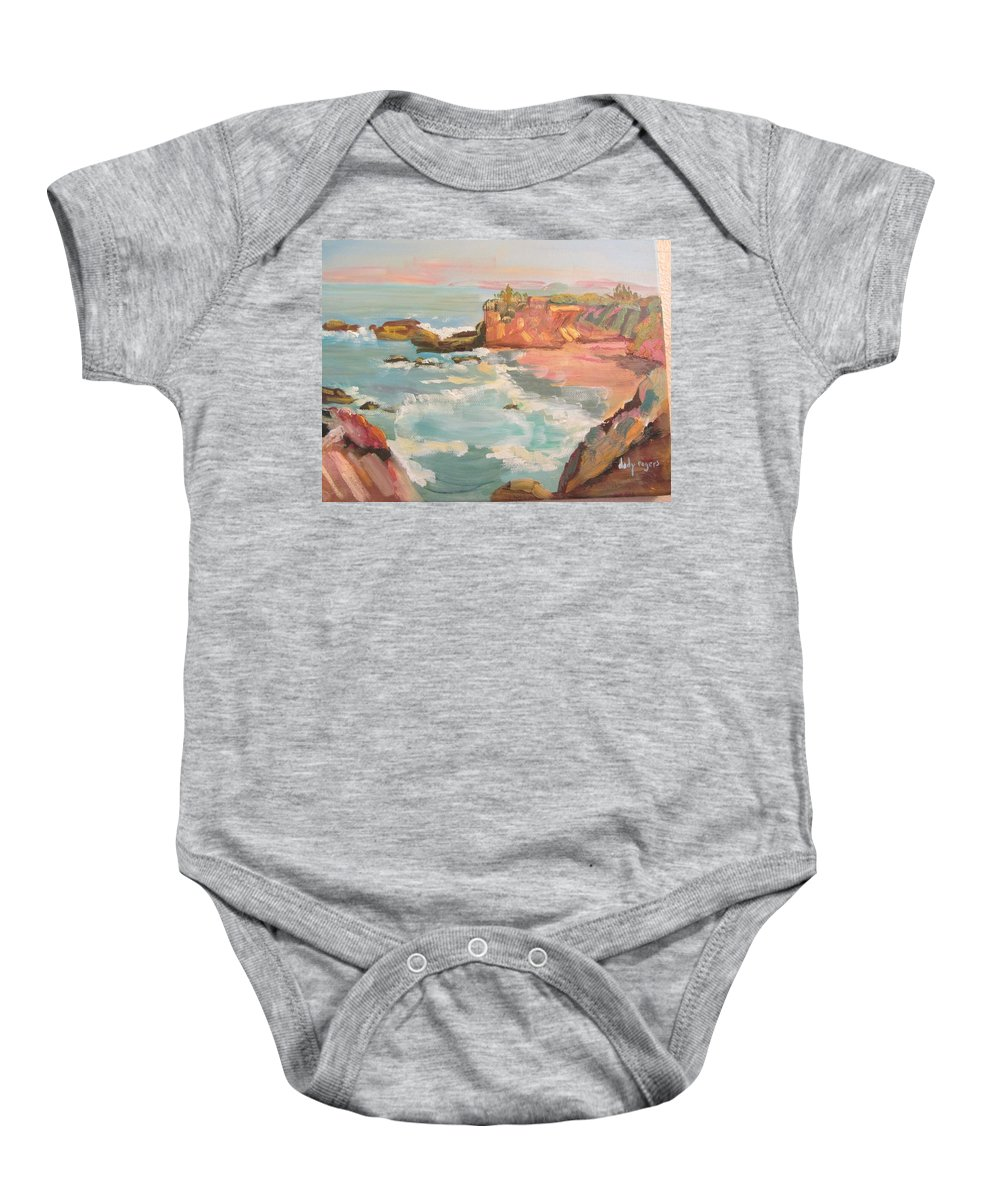 Seascape Baby Onesie featuring the painting Half Moon Bay by Dody Rogers