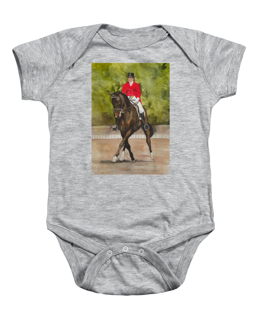 Horse Baby Onesie featuring the painting Half-Pass To The Right by Jean Blackmer