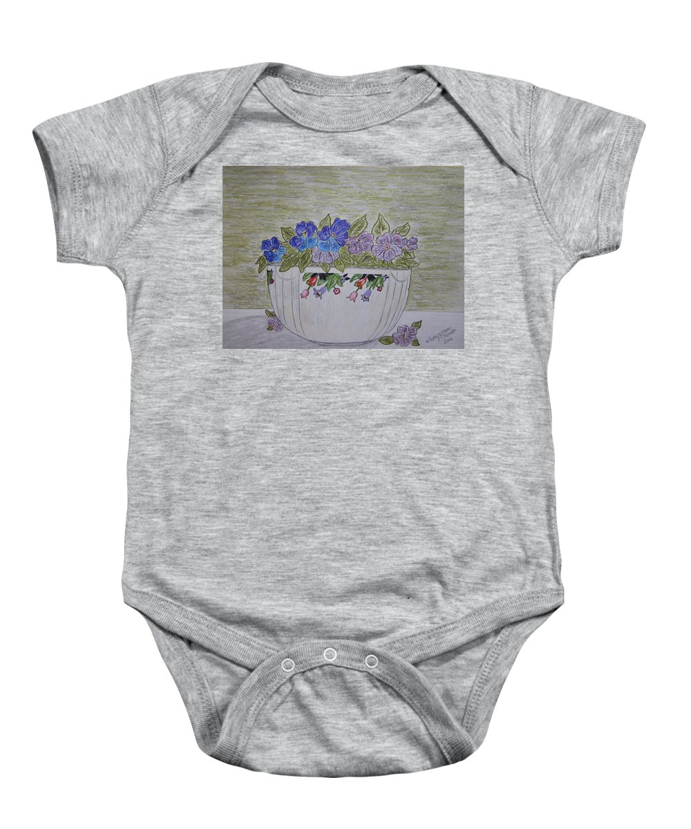 Hall China Baby Onesie featuring the painting Hall China Crocus Bowl With Violets by Kathy Marrs Chandler