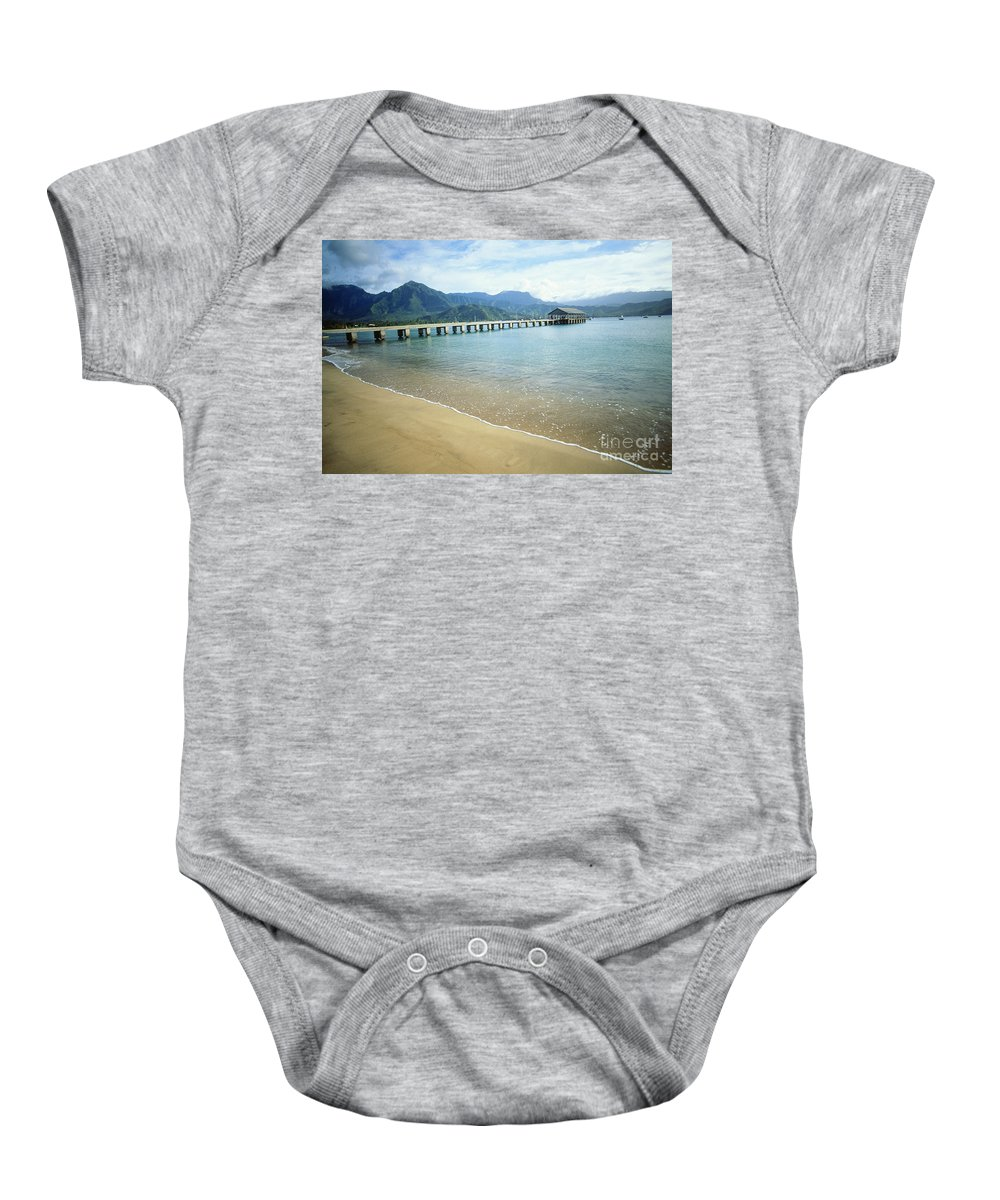 Bali Hai Baby Onesie featuring the photograph Hanalei Bay And Pier by Peter French - Printscapes
