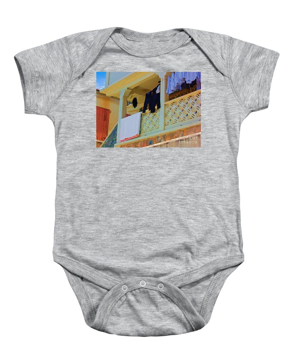 Laundry Baby Onesie featuring the photograph Hang Em High by Debbi Granruth