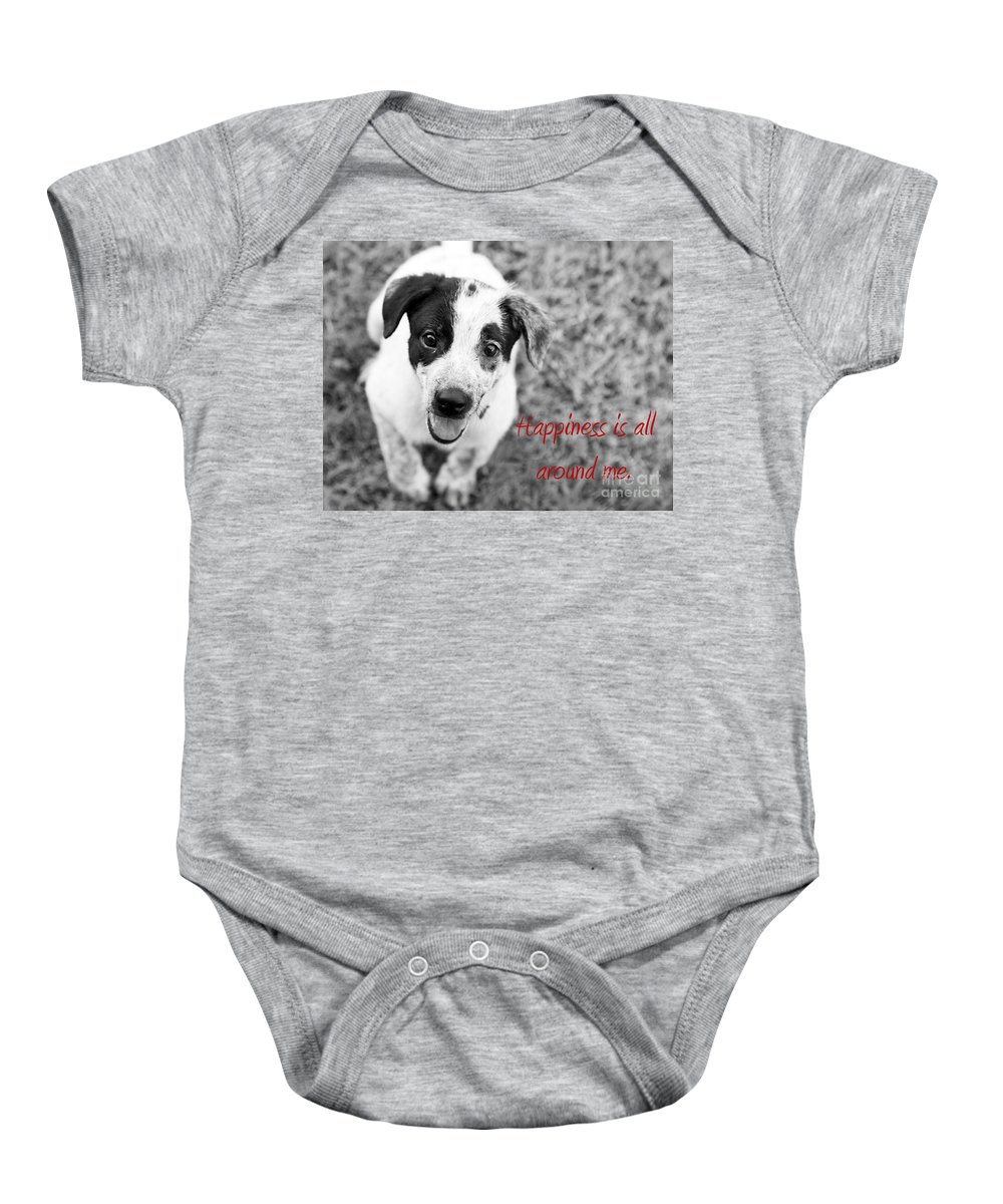 Puppy Baby Onesie featuring the photograph Happiness Is All Around Me by Amanda Barcon