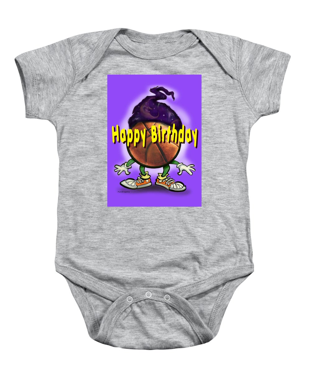 Happy Birthday Baby Onesie featuring the greeting card Happy Birthday Basketball Wiz by Kevin Middleton
